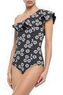 LISA MARIE FERNANDEZ One-shoulder ruffled printed swimsuit