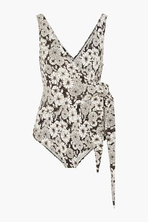 LISA MARIE FERNANDEZ Dree Louise wrap-effect floral-print stretch-crepe swimsuit
