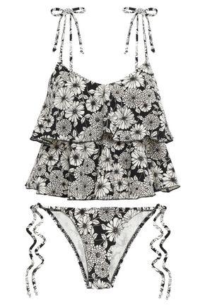 LISA MARIE FERNANDEZ Floral-print tiered low-rise bikini