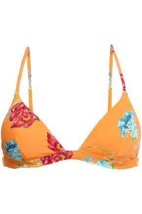 ONIA Ribbed floral-print triangle bikini top