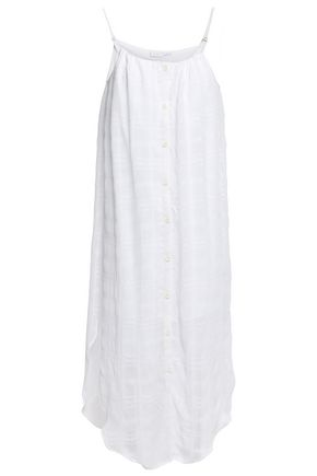 ONIA Flora checked voile midi dress