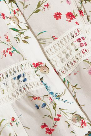 PALOMA BLUE Crochet-trimmed floral-print silk midi skirt