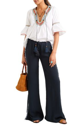 Figue Pants FIGUE WOMAN SIMONE FRINGED CREPE WIDE-LEG PANTS MIDNIGHT BLUE