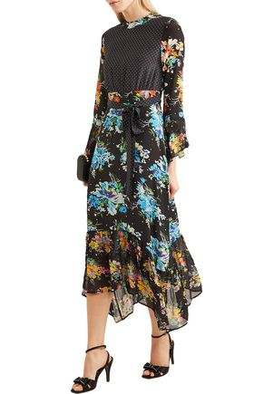 Rixo London Dresses RIXO WOMAN CHRISSY PANELED PRINTED SILK CREPE DE CHINE MIDI DRESS BLACK