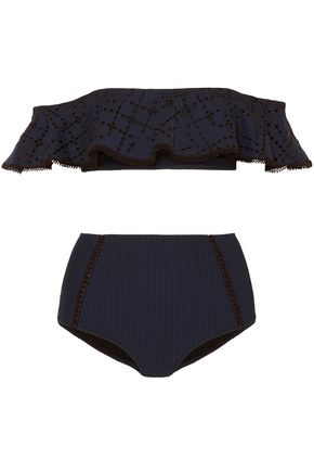 JONATHAN SIMKHAI Off-the-shoulder ruffled broderie anglaise and seersucker bandeau bikini