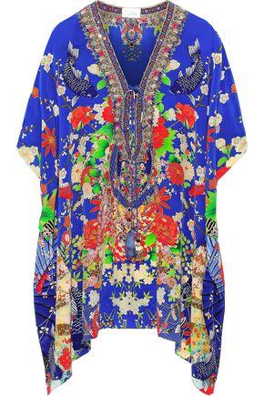 CAMILLA Darling's Destiny lace-up crystal-embellished printed silk crepe de chine kaftan