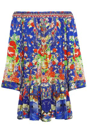 CAMILLA Off-the-shoulder printed silk crepe de chine mini dress