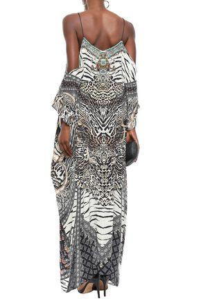 CAMILLA The Bodyguard cold-shoulder printed silk crepe de chine maxi dress