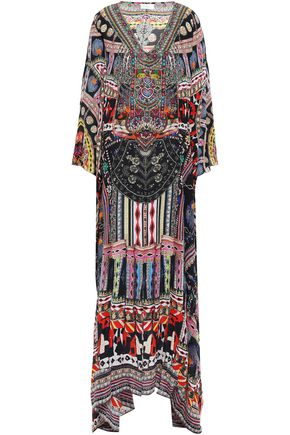 CAMILLA On My Own cold-shoulder printed silk crepe de chine maxi dress