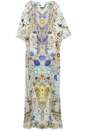 CAMILLA Soul Sisters crystal-embellished printed silk crepe de chine coverup