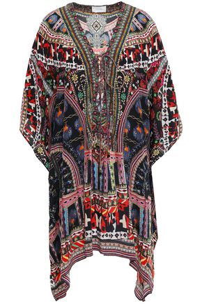 CAMILLA Dancing On My Own embellished lace-up silk crepe de chine kaftan