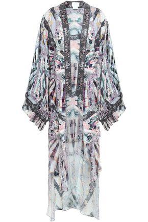 CAMILLA Her Shoes embellished crepon-paneled silk-satin jacquard kimono
