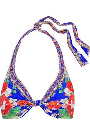 CAMILLA Playing Koi crystal-embellished floral-print triangle bikini top