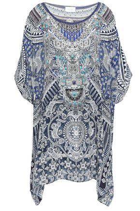 CAMILLA Small Town Hero embellished silk crepe de chine coverup