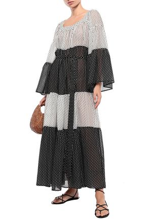 Lisa Marie Fernandez Dresses LISA MARIE FERNANDEZ WOMAN BELTED POLKA-DOT TWO-TONE COTTON-VOILE MAXI DRESS BLACK