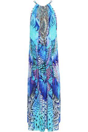 CAMILLA فستان طويل من قماش كريب دي شين الحريري المزين مطبع برسومات