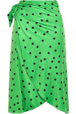 GANNI Clover polka-dot stretch-jersey pareo