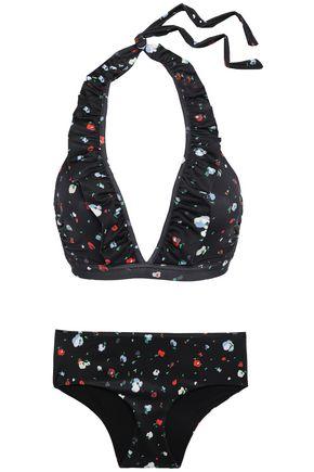 GANNI Pineberry ruffled-trimmed floral-print halterneck bikini