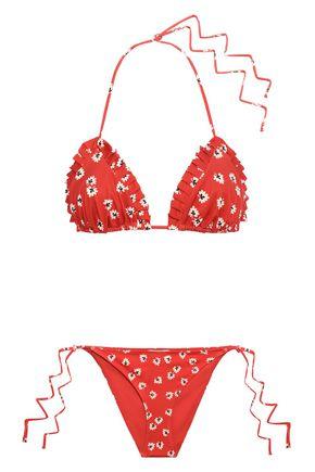 GANNI Columbine pleated floral-print triangle bikini