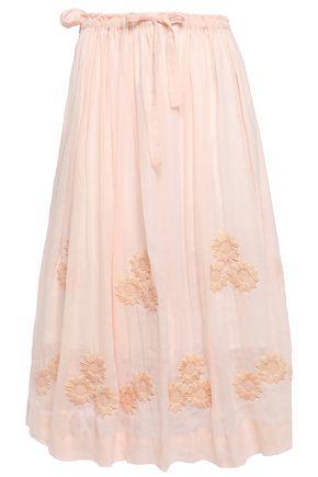 INNIKA CHOO Embroidered pleated ramie skirt