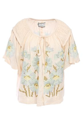 INNIKA CHOO Oliver embroidered linen top