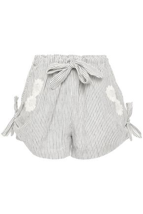 INNIKA CHOO Wilma bow-detailed embroidered striped linen shorts