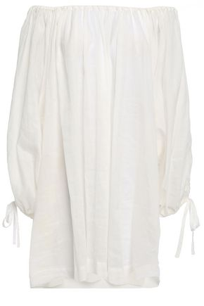 INNIKA CHOO Frida off-the-shoulder embroidered ramie top