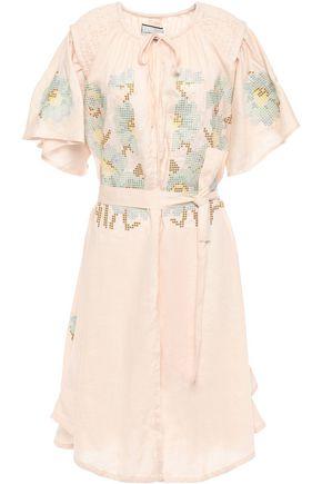 INNIKA CHOO Hugh smock-trimmed embroidered linen dress