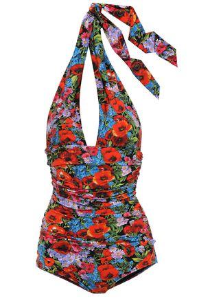 DOLCE & GABBANA BEACHWEAR Ruched floral-print halterneck swimsuit