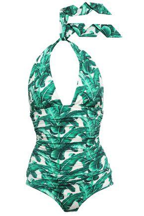 DOLCE & GABBANA BEACHWEAR Ruched printed halterneck swimsuit