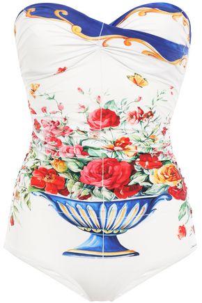 DOLCE & GABBANA BEACHWEAR Printed bandeau swimsuit