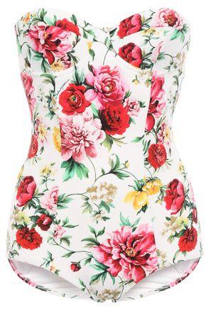 DOLCE & GABBANA BEACHWEAR Cutout floral-print bandeau swimsuit