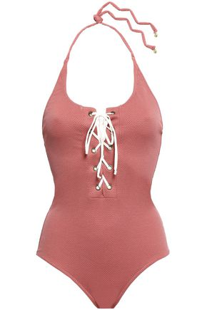 LOVE STORIES Lace-up piqué halterneck swimsuit