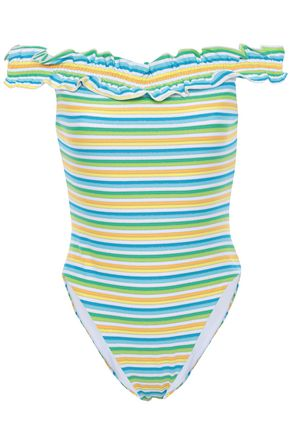 NICHOLAS Off-the-shoulder ruffle and metallic-trimmed striped swimsuit