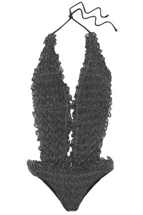 MISSONI MARE Cutout ruffle-trimmed metallic crochet-knit halterneck swimsuit