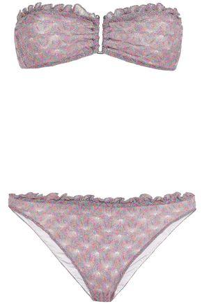MISSONI MARE Mare ruffle-trimmed metallic crochet-knit bandeau bikini