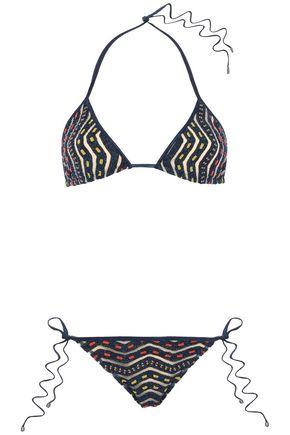 MISSONI MARE Mare burnout-effect metallic crochet-knit triangle bikini