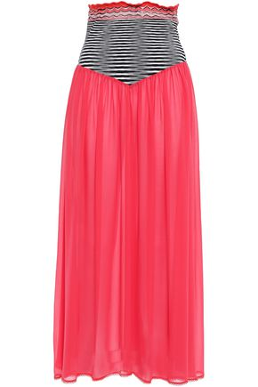 MISSONI MARE Crochet-trimmed knitted and silk-blend georgette midi skirt