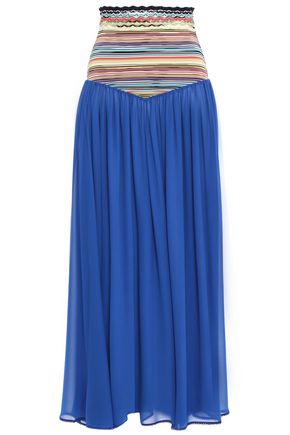 MISSONI MARE Mare crochet knit-paneled silk-blend georgette maxi skirt