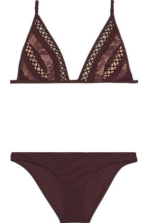 ZIMMERMANN Rayou corded lace-paneled triangle bikini
