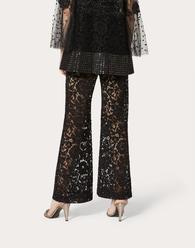 Embroidered Heavy Lace Trousers