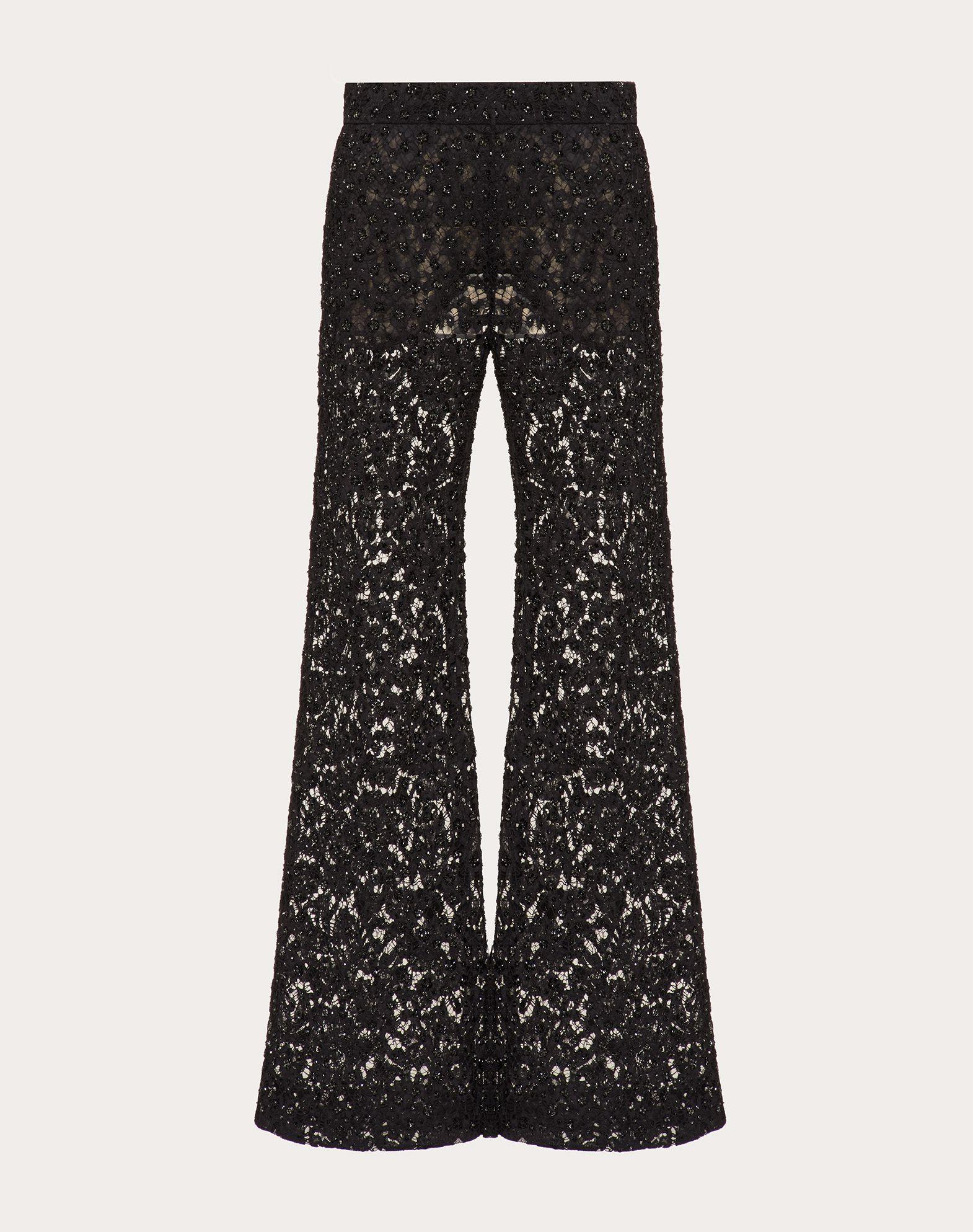 Pantalon brodé en guipure