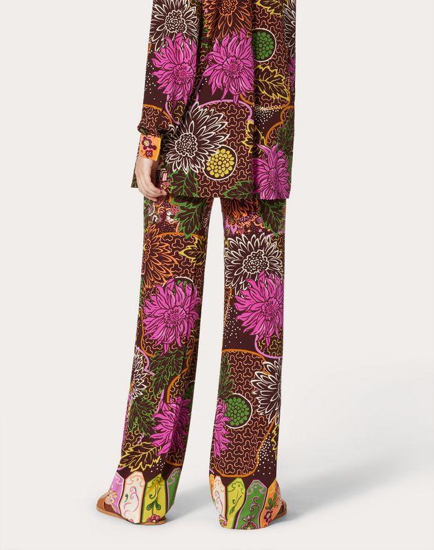 Printed Crepe de Chine Pants