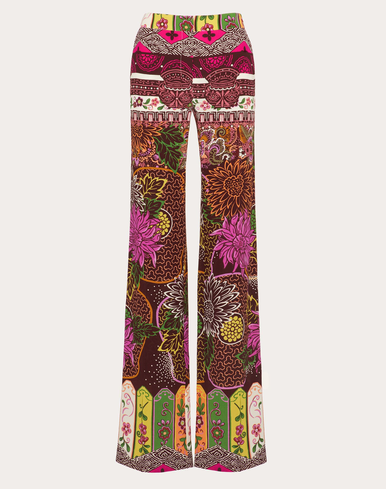 Printed Crepe de Chine Trousers