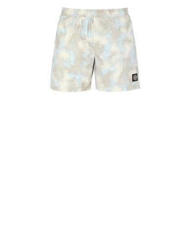 STONE ISLAND B09EB CAMO DÉVORÉ  Swimming trunks Man Dove Grey EUR 199