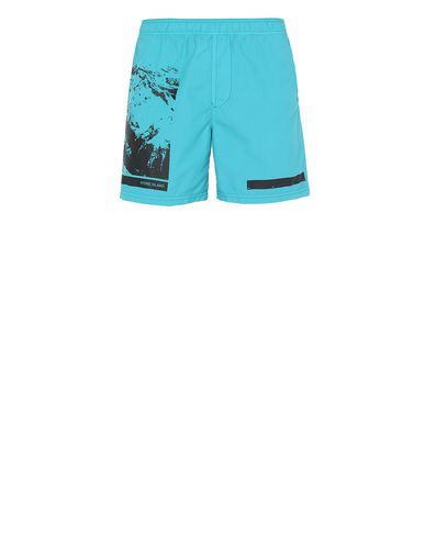 "STONE ISLAND B0993""DRONE SIX"" Swimming trunks Man Turquoise USD 165"