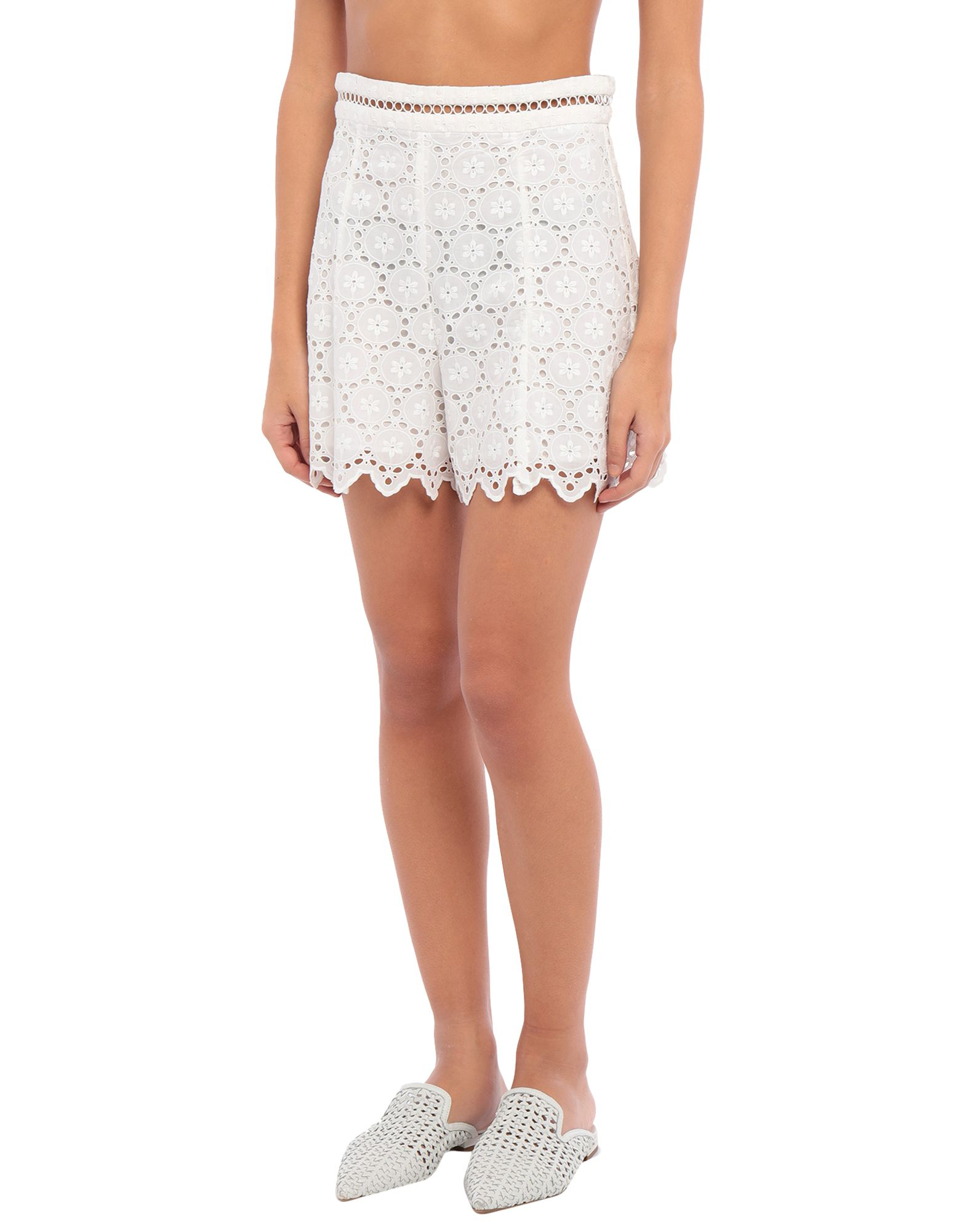 ZIMMERMANN Beach shorts and pants. lace, no appliqués, solid color, rear closure, no pockets, zip, fully lined. 100% Cotton