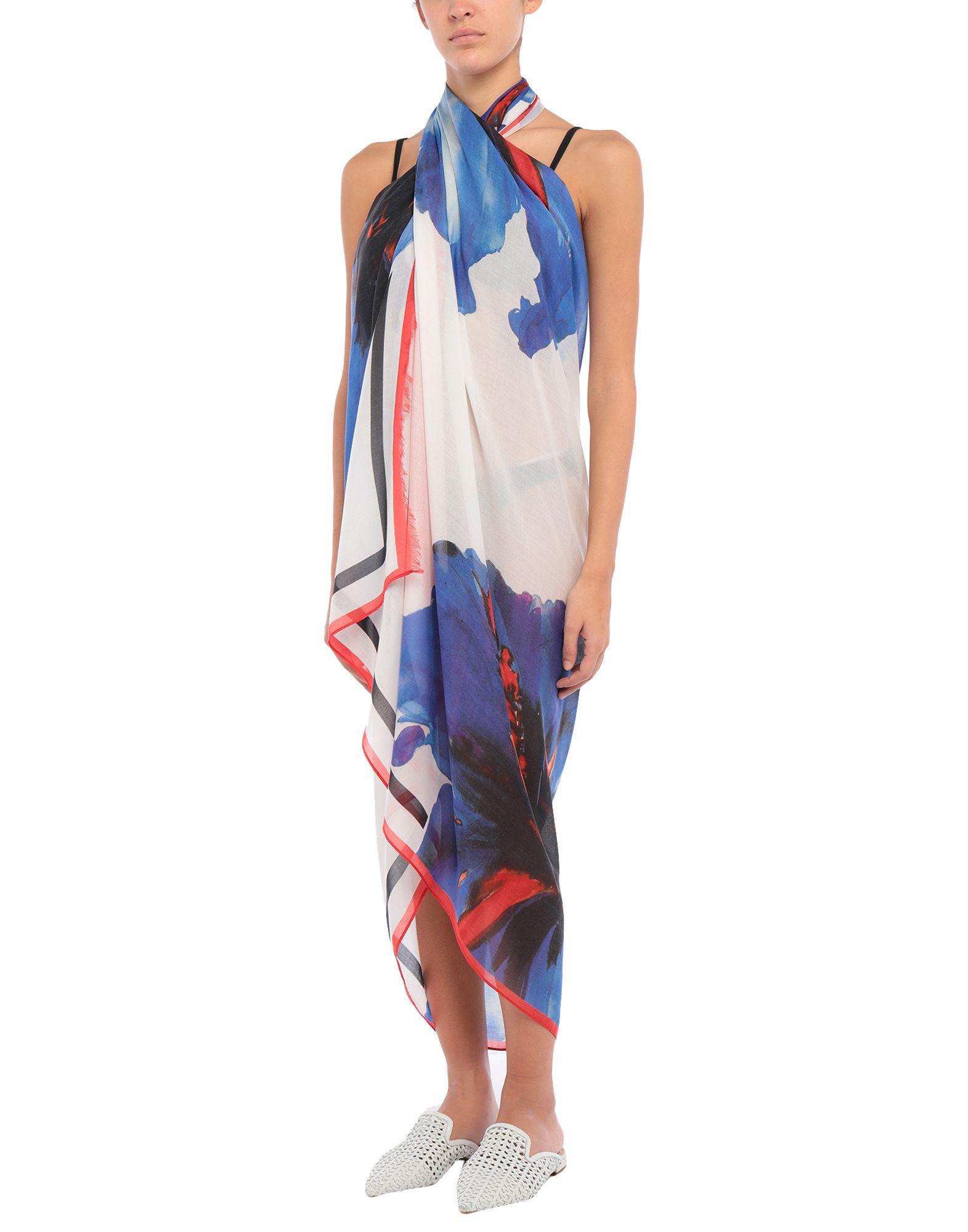 DSQUARED2 Sarongs. plain weave, fringe, multicolor pattern. 85% Modal, 15% Silk