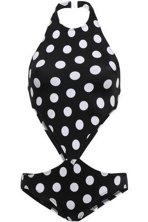 NORMA KAMALI Cutout polka-dot swimsuit