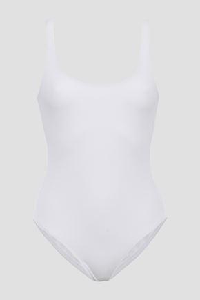 MELISSA ODABASH Button-detailed piqué swimsuit